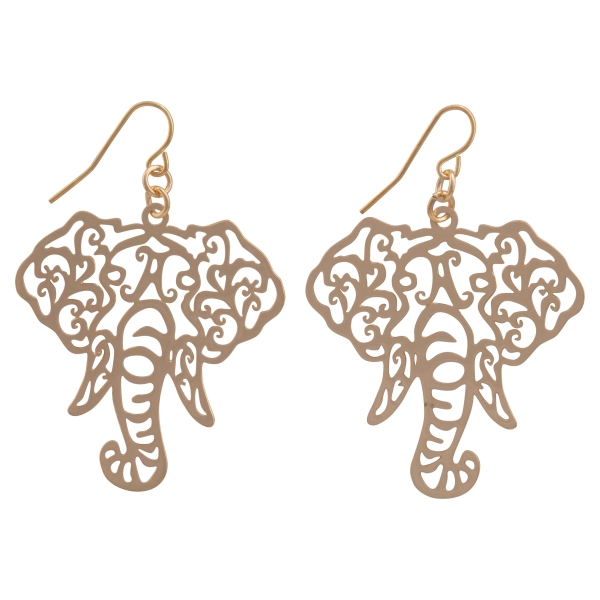 """Gold tone fishhook earrings featuring a cutout elephant head. Approximately 1 1/2"""" in length."""