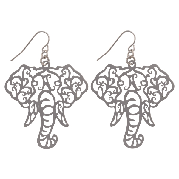 Wholesale silver fishhook earrings cutout elephant head