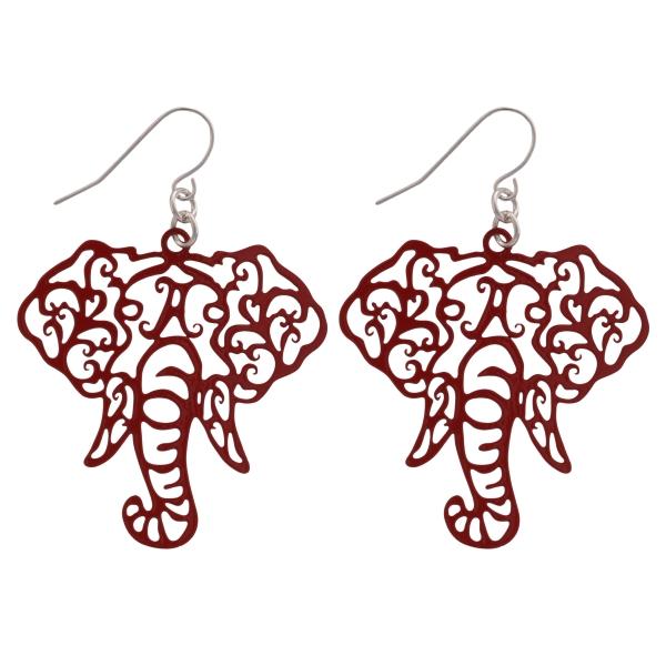 Wholesale crimson fishhook earrings cutout elephant head
