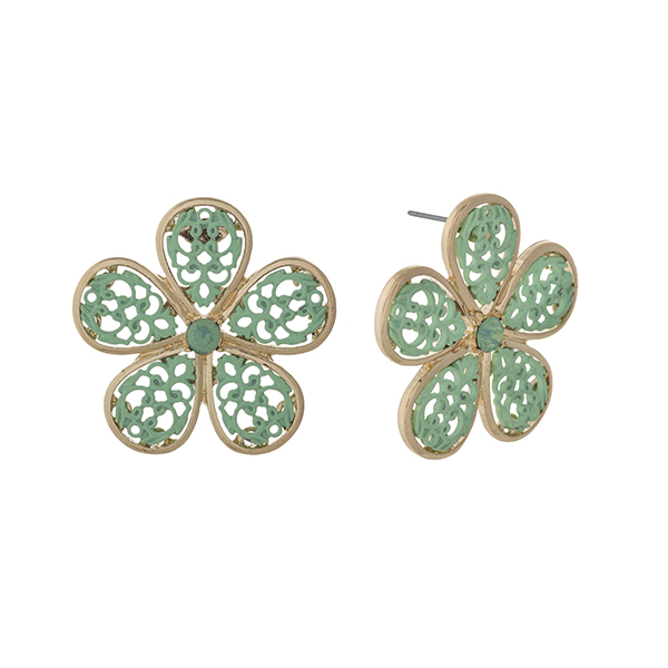 """Gold tone post style earrings displaying a mint filigree design flower. Approximately 1 1/2"""" in length."""