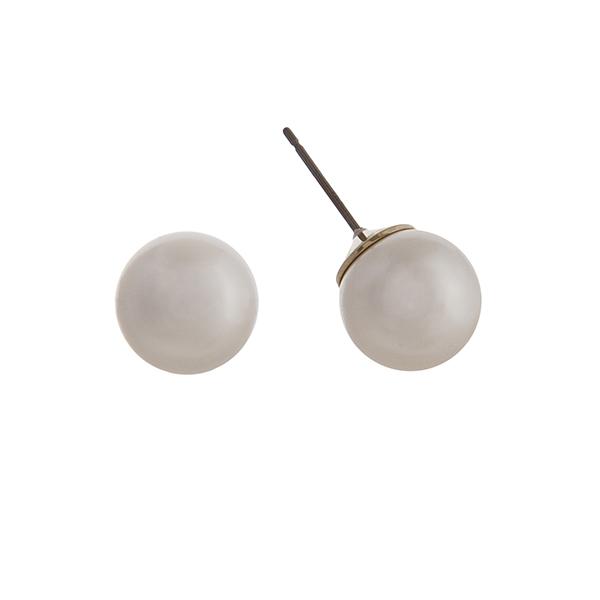 """Faux pearl stud earrings. Approximately .5"""" in diameter."""