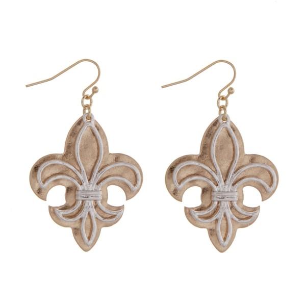 Wholesale gold fishhook earrings two fleur de lis