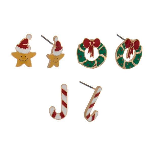 Gold tone Christmas three pair stud earring set with candy canes, stars, and wreaths.