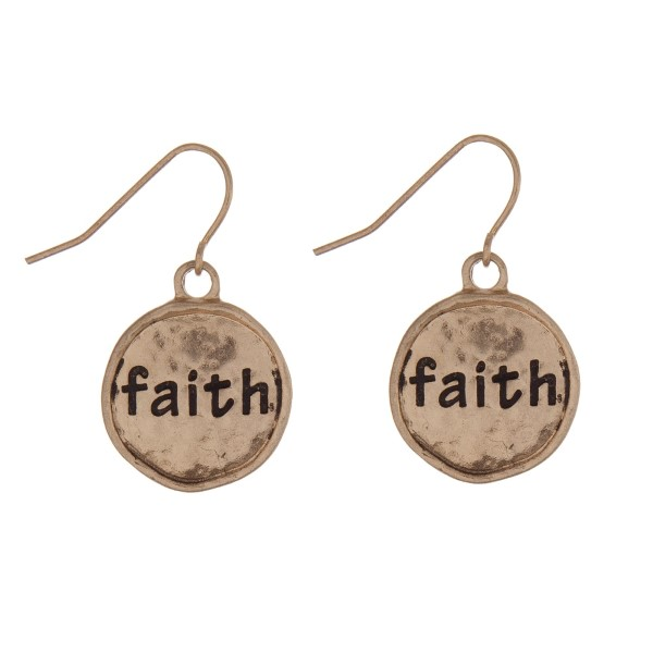 Wholesale gold fishhook earrings hammered circle stamped faith