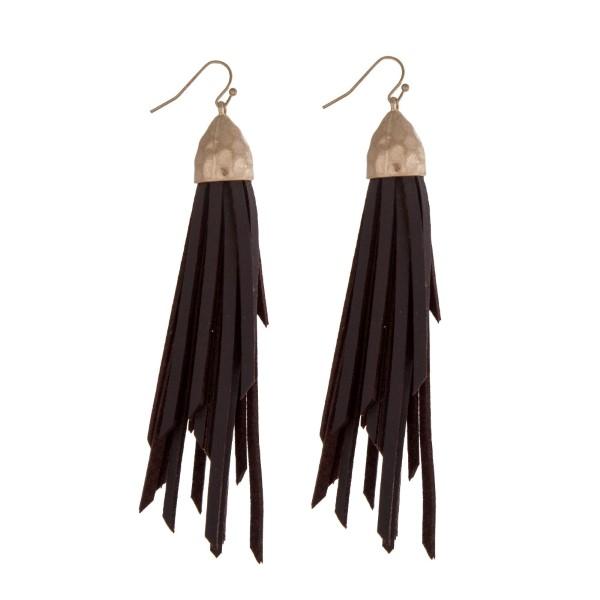 Wholesale gold fishhook earrings displaying faux leather dark brown tassel