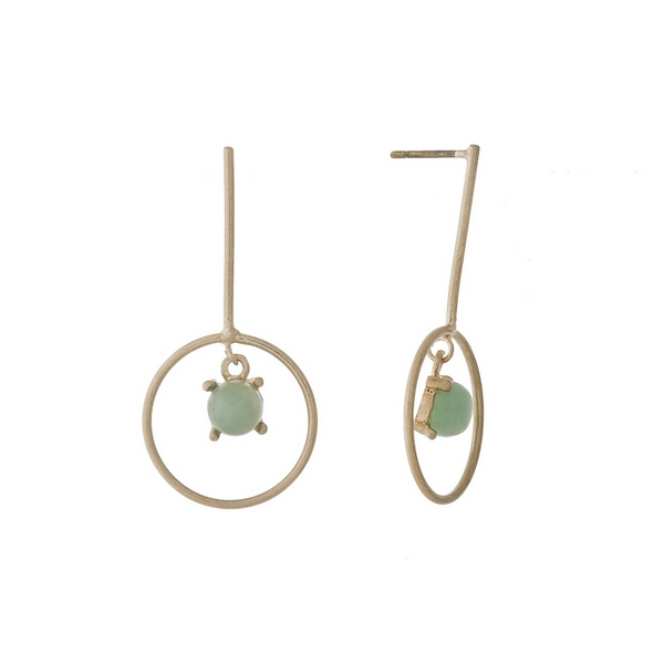 """Dainty, gold tone post style earrings with a green stone. Approximately 1.25"""" in length."""