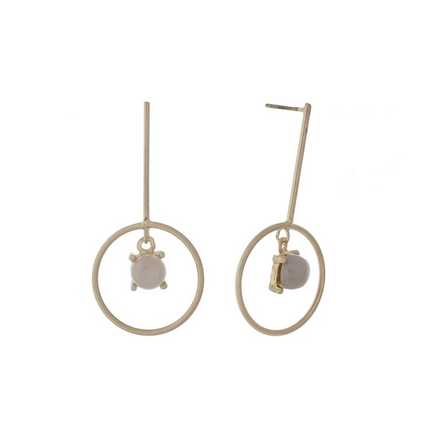 """Dainty, gold tone post style earrings with a gray stone. Approximately 1.25"""" in length."""
