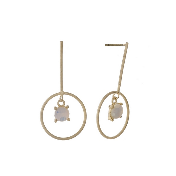 """Dainty, gold tone post style earrings with an opal stone. Approximately 1.25"""" in length."""