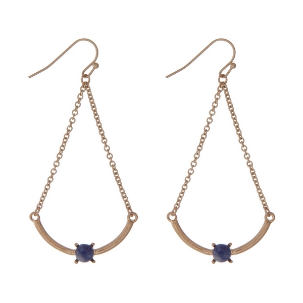 "Gold tone fishhook earrings with a scoop bar and a blue bead. Approximately 2"" in length."