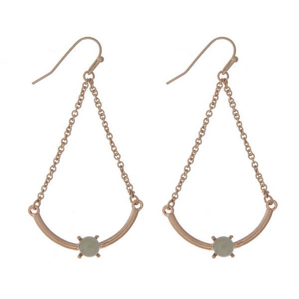 """Gold tone fishhook earrings with a scoop bar and a green bead. Approximately 2"""" in length."""
