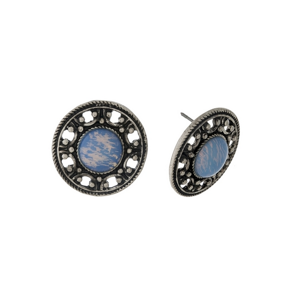 """Burnished silver tone, circle shaped, stud earrings with an opal stone. Approximately 1"""" in length."""