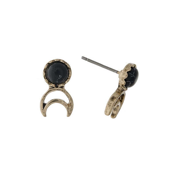 """Dainty gold tone stud earrings with a black stone and a crescent cutout. Approximately 1/2"""" in length."""