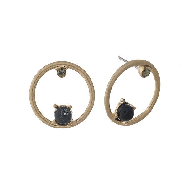 """Gold tone circle stud earrings with black stone and rhinestone accents. Approximately 1"""" in length."""
