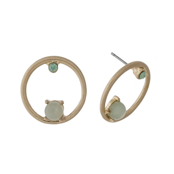 """Gold tone circle stud earrings with green stone and rhinestone accents. Approximately 1"""" in length."""