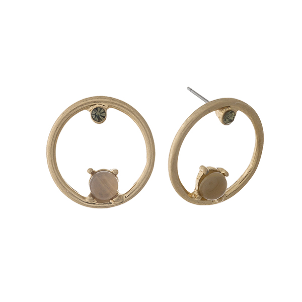 """Gold tone circle stud earrings with gray stone and rhinestone accents. Approximately 1"""" in length."""