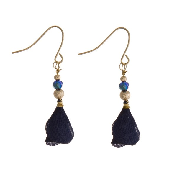 """Gold tone fishhook earrings with a navy blue fabric flower. Approximately 1"""" in length."""
