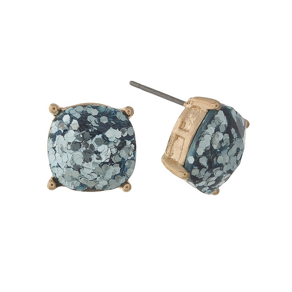 Wholesale gold stud earrings light blue glitter diameter