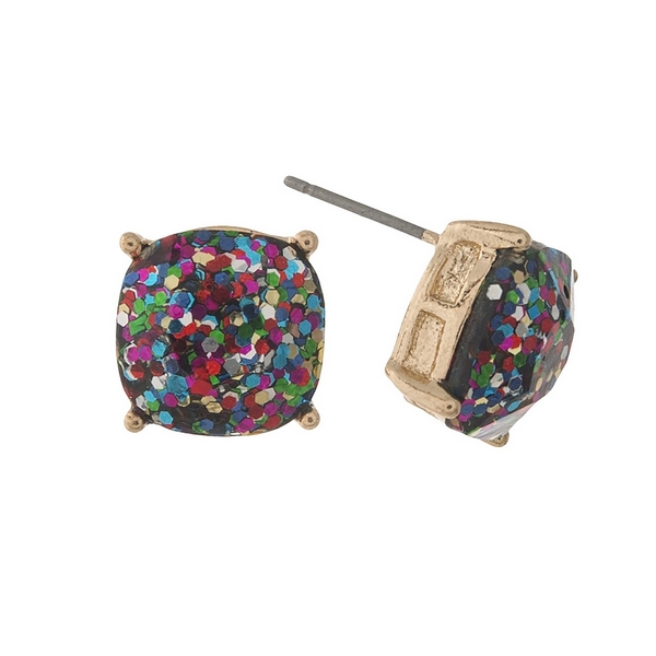"Gold tone stud earrings with multi colored glitter. Approximately 1/2"" in diameter."