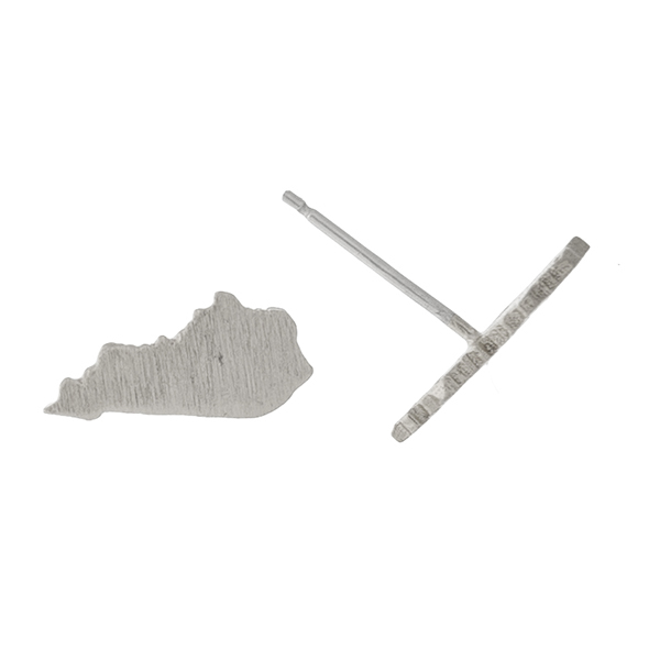 """Dainty brushed silver tone stud earrings in the shape of Kentucky. Approximately 1/4"""" in length."""