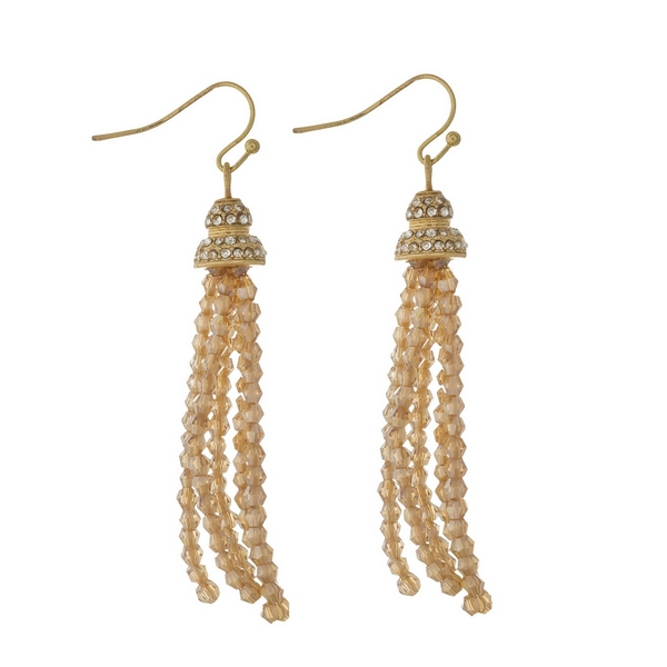 """Gold tone fishhook earrings featuring a topaz beaded tassel and clear rhinestones. Approximately 2.5"""" in length."""