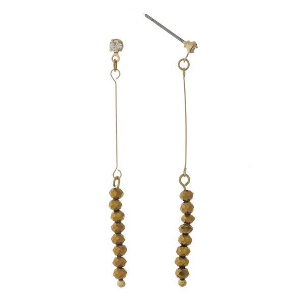 """Dainty gold tone stud earrings featuring bronze faceted beads. Approximately 2"""" in length."""