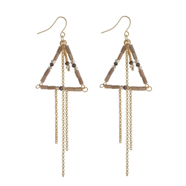 """Gold tone fishhook earrings with a gray beaded triangle and chain fringe. Approximately 3"""" in length."""
