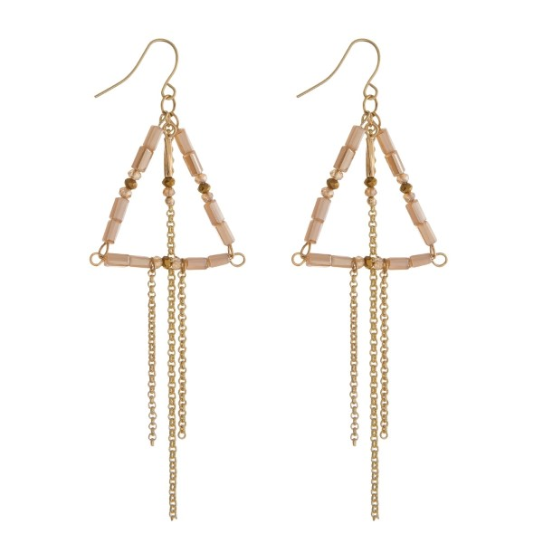 """Gold tone fishhook earrings with a topaz beaded triangle and chain fringe. Approximately 3"""" in length."""