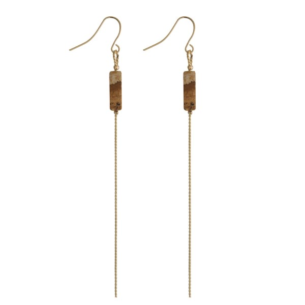 """Gold tone fishhook earrings with a picture jasper stone and a gold tone chain. Approximately 4"""" in length."""