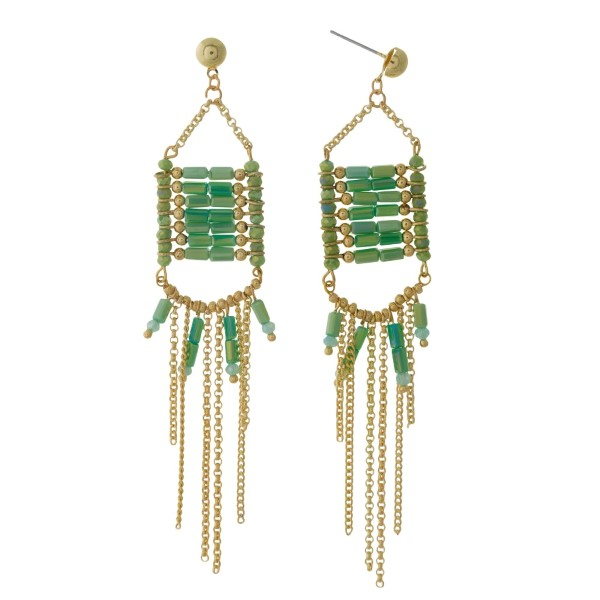 """Gold tone post earrings with green beads and chain fringe. Approximately 4"""" in length."""