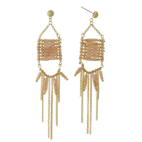 """Gold tone post earrings with topaz beads and chain fringe. Approximately 4"""" in length."""