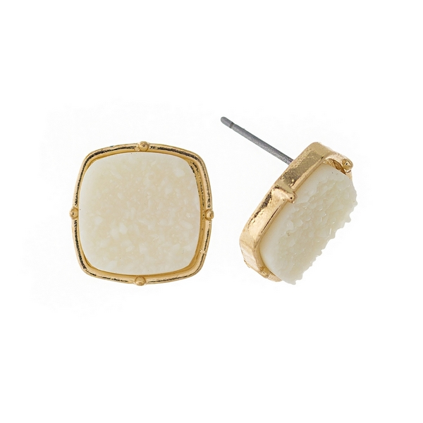 "Gold tone stud earrings with an ivory, square shaped faux druzy stone. Approximately 1/2"" in diameter."