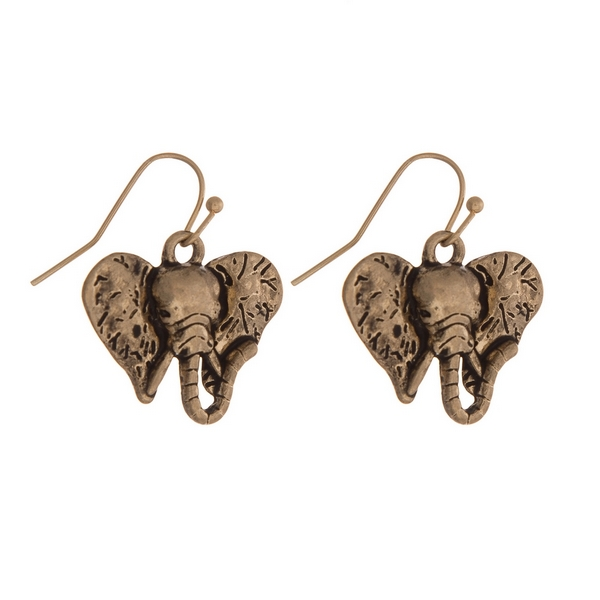 """Gold tone fishhook earrings with an elephant head. Approximately 3/4"""" in length."""