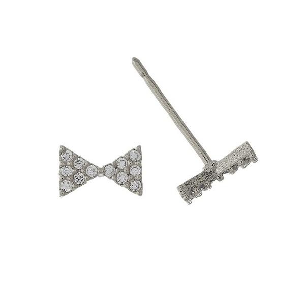 "Silver tone bow stud earrings. Approximately 1/3"" in width."