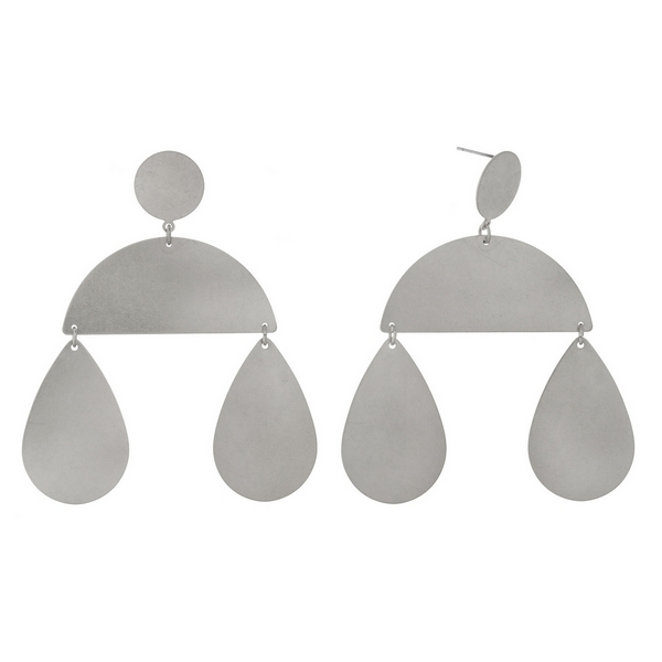 """Silver tone stud earrings with two teardrop and a half circle shape. Approximately 3.25"""" in length."""