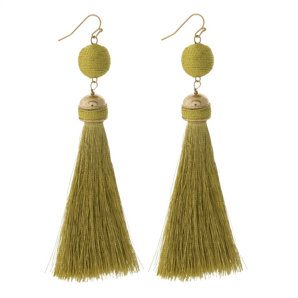 """Gold tone fishhook earrings with a gold thread wrapped bead and thread tassel. Approximately 4"""" in length."""