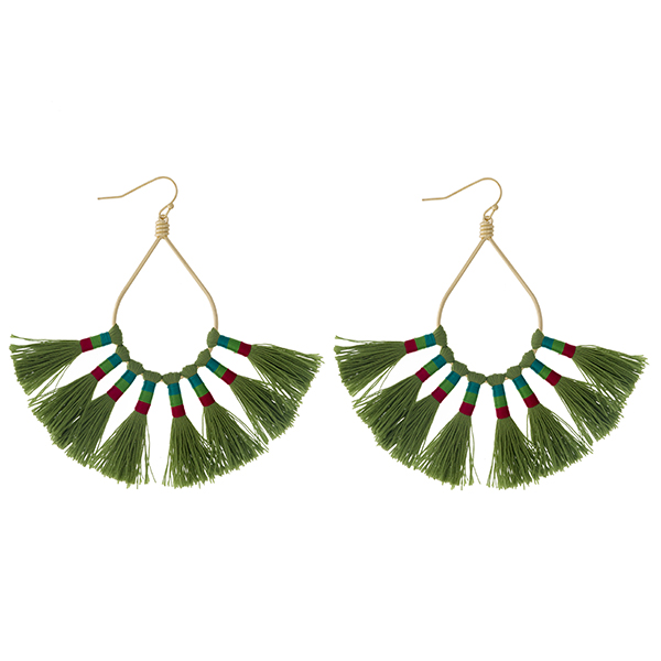 """Gold tone fishhook earrings with an open oval shape and eight olive green thread tassels. Approximately 3.25"""" in length."""