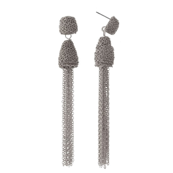 """Silver tone fishhook earrings with a chain tassel. Approximately 3.5"""" in length."""