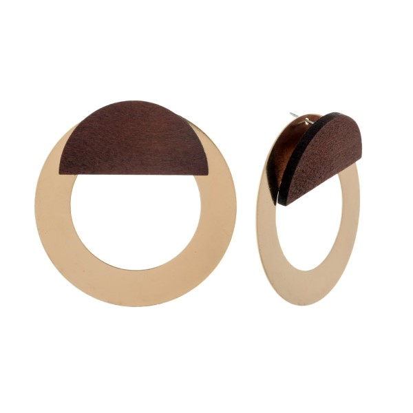 """Brushed metal stud earrings with a wooden, half circle accent. Approximately 2"""" in diameter."""