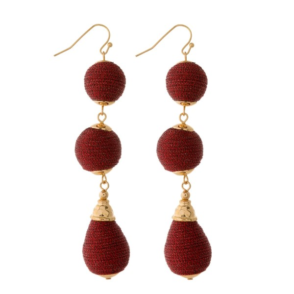 Wholesale fishhook earrings thread wrapped beads circle oval shapes