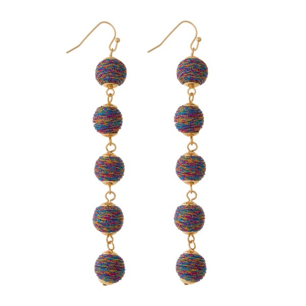Wholesale gold fishhook earrings five thread wrapped beads