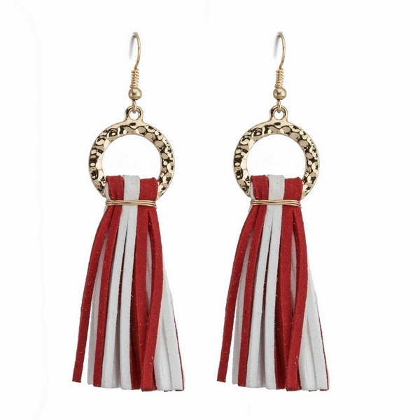 Wholesale gold fishhook earrings two faux suede tassels gameday