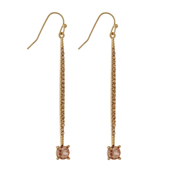 """Gold tone fishhook earrings with a pave bar and a circle rhinestone. Approximately 2.25"""" in length."""