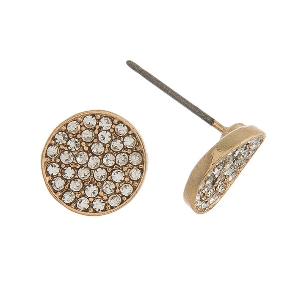 "Circle stud with pave rhinestone accents. Approximately 1/2"" in size."