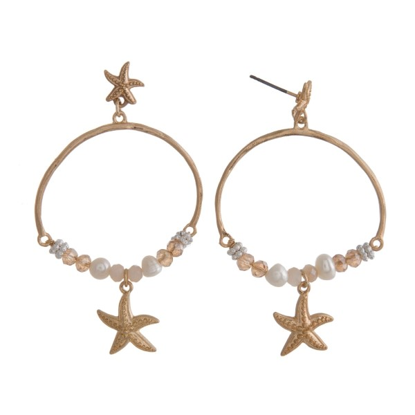 Wholesale stud earring natural stone beads sea life charms