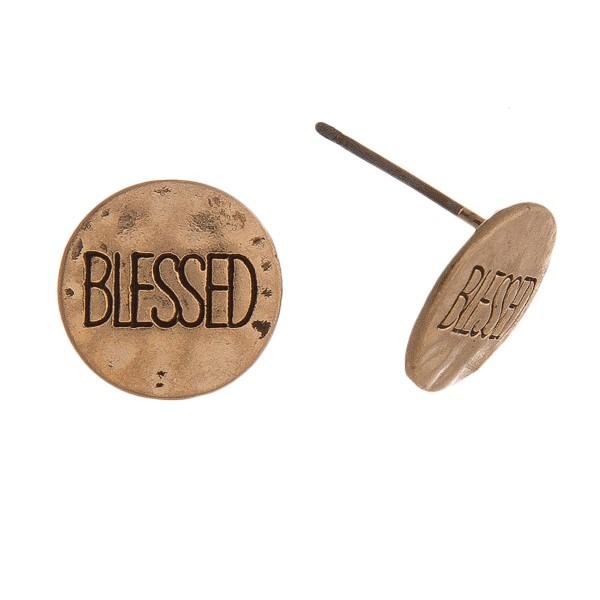 Wholesale hammered Blessed engraved stud earrings diameter