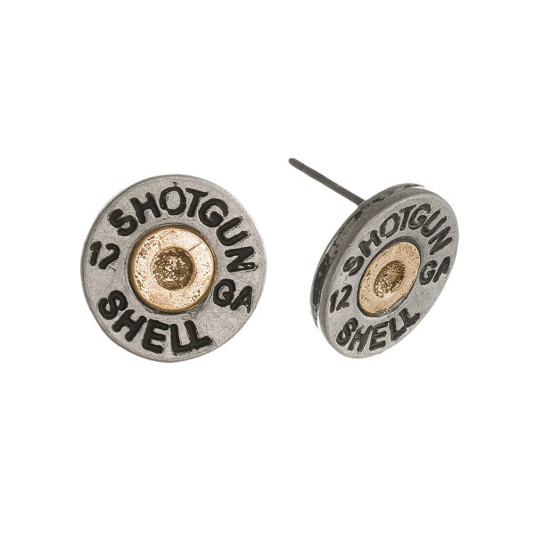 "Two Tone Shotgun Shell Stud Earrings.  - Approximately .5"" in Diameter"