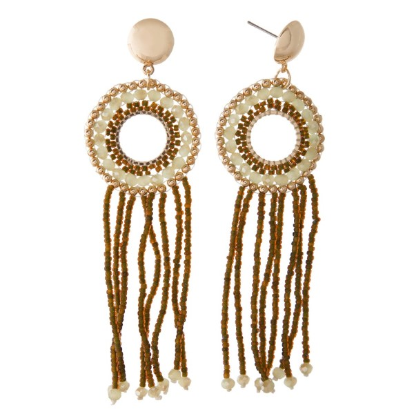 """Gold tone stud earring with beaded design. Approximately 3"""" in length."""