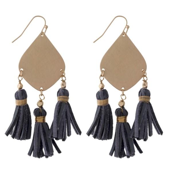 Wholesale gold fishhook earring leather tassels