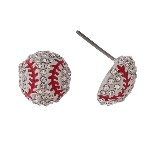 Wholesale baseball stud earrings rhinestones