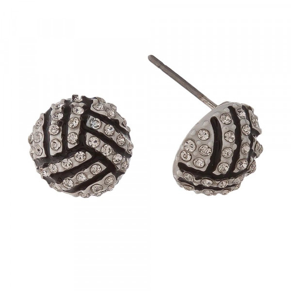 "Volleyball stud earrings with rhinestones. Approximately 1/2"" in length."